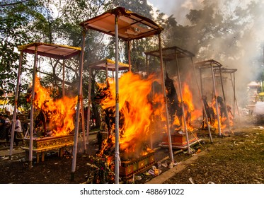 BALI, INDONESIA - AUGUST 20: Public cremation ceremony. Sculpture of a bull made to get burnt on August 20,2016 at Ubud in  Bali,Indonesia .This is Hindu ceremony.