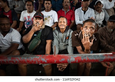 BALI, INDONESIA - AUGUST 25, 2018: Smoking spectators of a cockfight, two fighting hens, which is ancient balinese tradition to fight evil spirits