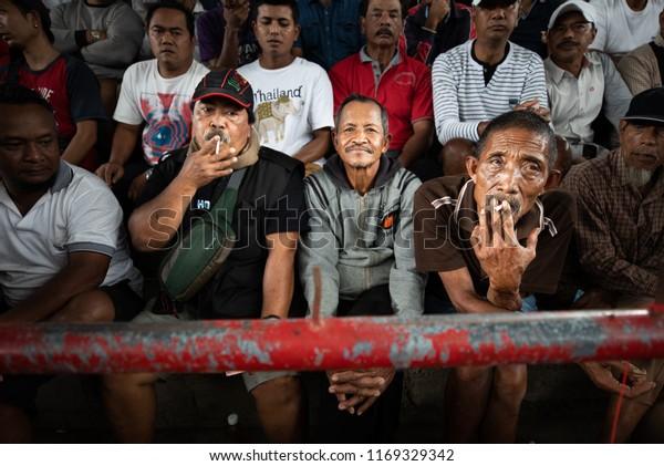 Bali Indonesia August 25 2018 Smoking People Stock Image
