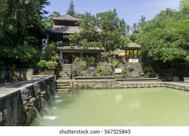 BALI, INDONESIA , CIRCA APRIL 2016. Hot spring Air Panas Banjar. Tourist attraction spot in Bali.