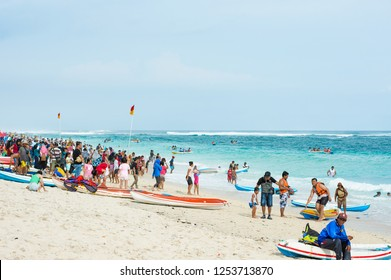 Bali, Indonesia - Dec 28, 2017 : One of the more popular tourist destinations in Bali - Pandawa Beach packed with people enjoying their vacation.