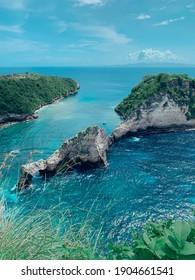 Bali, Indonesia - December 26, 2020 : The shore in Nusa Penida Island, Bali, Indonesia