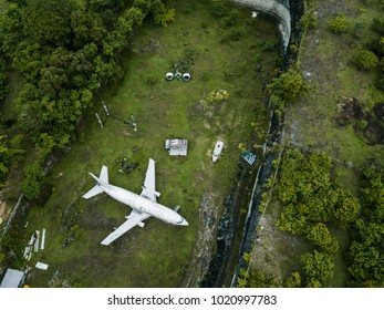 BALI, INDONESIA - DECEMBER 27, 2017: Abandoned Aircraft in South Kuta