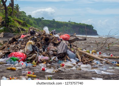 Bali, Indonesia - December 27th 2018 - Polluted beach and market showing the extent of ocean plastics and pollution