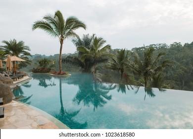 BALI, INDONESIA - DECEMBER 30, 2017: Empty infinity pool at Padma Ubud.