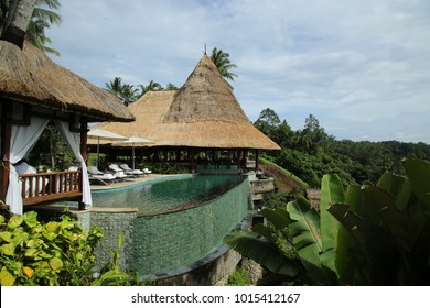 BALI, INDONESIA - FEBRUARY 5, 2016: The 5-star Viceroy Bali Hotel in Ubud, Bali, Indonesia. Hotel sits in the highlands of Ubud, featuring luxurious villas with private pools and views of Petanu River