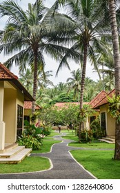 BALI, INDONESIA - JANUARY 14, 2018: Territory Discovery Candidasa Cottages and Villas Hotel at sunny day, Bali, Indonesia