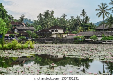 BALI, INDONESIA - JANUARY 15, 2018:  Beautiful Lotus Lagoon pond surrounded by tropical palm trees in Candidasa village, Bali, Indonesia.