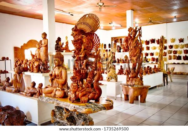 Bali, Indonesia - January, 2020: Wooden crafts Market in Bali Island, Indonesia