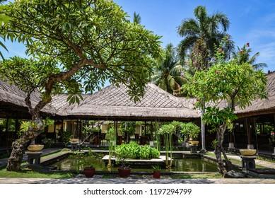 "BALI, INDONESIA - JANUARY 5, 2018: Luxury hotel ""Puri Bagus Lovina Villa Resort & Spa"" territory with restaurant on Bali island, Indonesia"