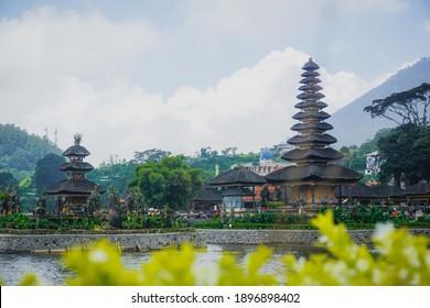 Bali, Indonesia - January 9, 2019: Ulun Danu Beratan - a picturesque Hindu temple on the lake