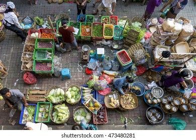 BALI, INDONESIA - Jul 23, 2016: Bustling hawker activity at Ubud main street market in the morning.
