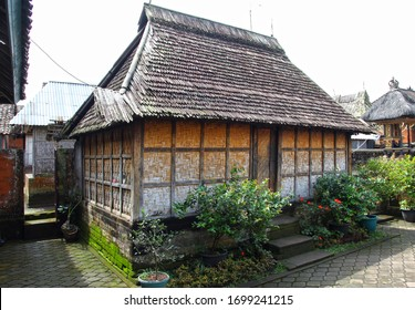 Bali, Indonesia - July 20, 2019. The traditional village in Bali is one of the best preserved traditional villages on the island. An old wood and bamboo building.