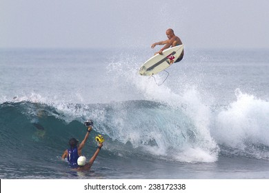 BALI, INDONESIA - JUNE18: Kelly Slater, an American professional surfer, in action at the Oakley Pro Bali ASP World Championship Tour 2013, June 18, 2013 in BALI, INDONESIA.