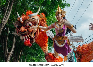 Bali, Indonesia - March 08, 2016:   Ogoh-Ogoh statues at the parade during Balinese New Year celebrations on March 08, 2016 in Bali, Indonesia.