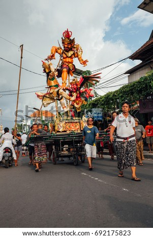 Bali, Indonesia - March 08, 2016:   Ogoh-Ogoh statues are transported to the parade during Balinese New Year celebrations on March 08, 2016 in Bali, Indonesia.