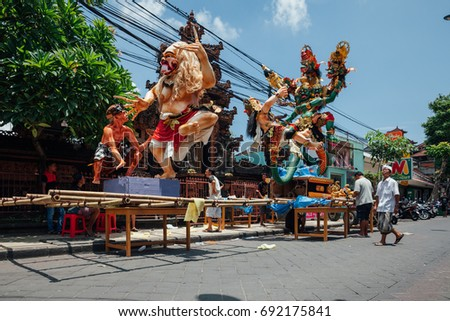 Bali, Indonesia - March 08, 2016:   Ogoh-Ogoh statues being prepared for the parade during Balinese New Year celebrations on March 08, 2016 in Bali, Indonesia.