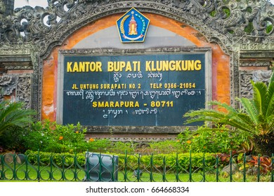 BALI, INDONESIA - MARCH 08, 2017: Informative sign of Kantor bupati klungkung memorial monument, in the city of Denpasar in Bali, Indonesia