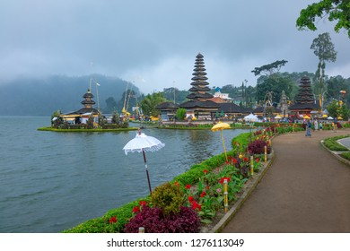 Bali, Indonesia - March 24, 2017:  The ancient pagodas of the Ulun Danu temple on  the Beratan lake riverside