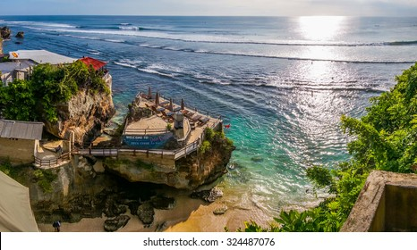 BALI, INDONESIA - MAY, 2015 - A panaroma view of the Delpi Rock Lounge overlooking the ocean taken at Suluban Beach, Bali on 25 May 2015. This is a good place to view the sunset and a great surf spot.