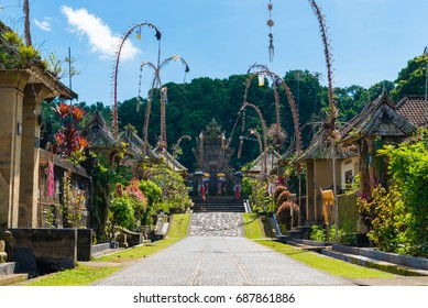 Bali, Indonesia - May 9, 2017 : Penglipuran village, best known for its well-preserved culture and village layout with traditional houses in Bali, Indonesia