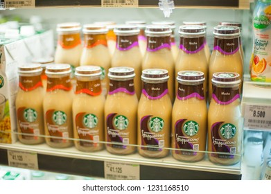 BALI, INDONESIA - November 12, 2018 -variety tastes of Starbucks coffee drink line up display and sell at the local supermarket in Bali, Indonesia. Selective focus and blur background.