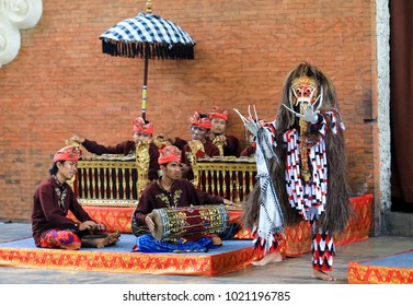 BALI, INDONESIA - NOVEMBER 15, 2017 : Bali Nusantara Dance performed at Garuda Wisnu Kencana Cultural Park or GWK, a cultural park located at Ungasan Bali.