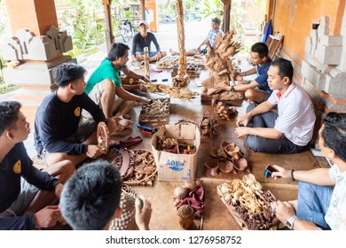 Bali, Indonesia - November 24, 2018:Wood Carvers Work at a Wood Carving Factory to Create Intricate Wooden Sculptures Related to Balinese Culture and Religion, on November 24, 2018 in Bali