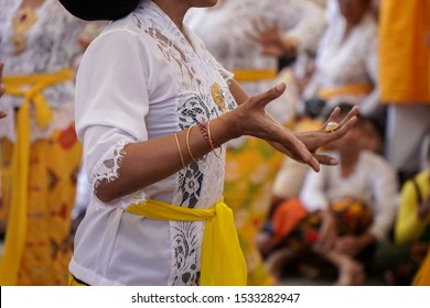 Bali / Indonesia - Oct 13 2019 : Balinese do annual ritual called Piodalan. Mature Balinese women showed Rejang Renteng dance before Piodalan ceremony started