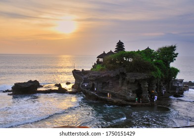 Bali Indonesia, Oct 23' 2008. Beautiful view of the sunset in Tanah Lot, a place to pray for Balinese Hindus