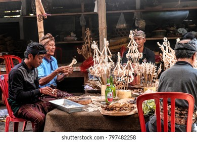 BALI, INDONESIA - October 15, 2017 : Unidentified Balinese people are preparing food for using in the ceremony.