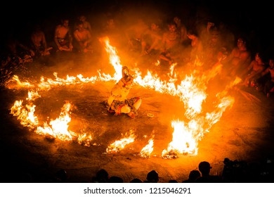 Bali, Indonesia - October 24 2018: The artist performing Kecak Dance with ramayana story lines, balinese sacred traditional dance at the complex of uluwatu temple.