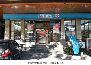Bali, Indonesia – Sept 11, 2018:  Watson store in Legian,Bali. Watsons Personal Care Stores, known simply as Watsons, is the largest health care and beauty care chain store in Asia.