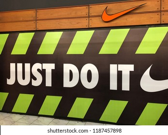 Bali, Indonesia – Sept 13, 2018:  Nike logo and JUST DO IT