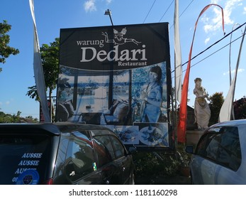 Bali, Indonesia- Sept 14, 2018 : Entrance view of Warung Dedari Restaurant & Villa at village of Perean in Bali,Indonesia.