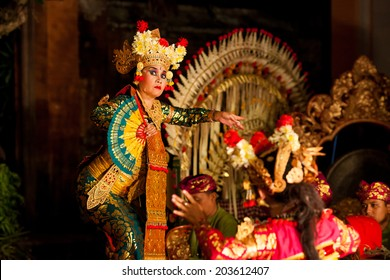 BALI, INDONESIA  SEPTEMBER 20, 2013: Traditional dance Legong and Barong is performed by local professional actors in Ubud Palace