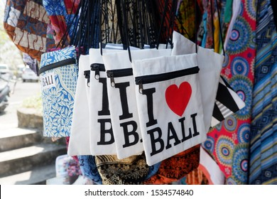 Bali, Indonesia - September 9th, 2017: I Love Bali sign on the canvas bag in a local souvenir shop in Bali, indonesia