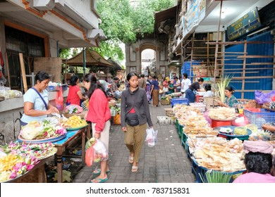 Bali, Indonesia-Dec 08, 2017:Daily life and the commercial activities at morning in the Street Market in Ubud, Bali, Indonesia.