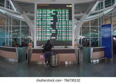 Bali, Indonesia-Dec 10, 2017:Information counter inside the Ngurah Rai International Airport. The main airport in Bali, located 13 km south of Denpasar.