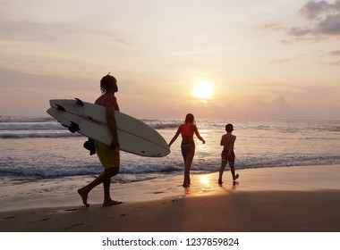 Bali, Indonesia-November 15, 2018 : Sunset surf in Batu Bolong Beach Canggu