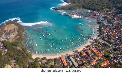 Bali island / Indonesia - 21 june 2018 : Aerial view at Padang Bai Port area ,popular destination to Nusa Dua island