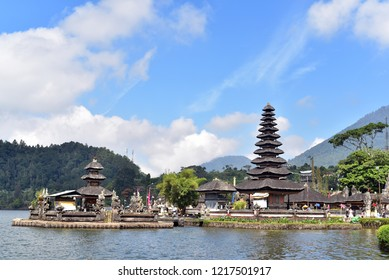 BALI ISLAND - INONESIA / 06.08.2018: Pura Ulun Danu Beratan, or Pura Bratan, is a major Shaivite water temple on Bali, Indonesia