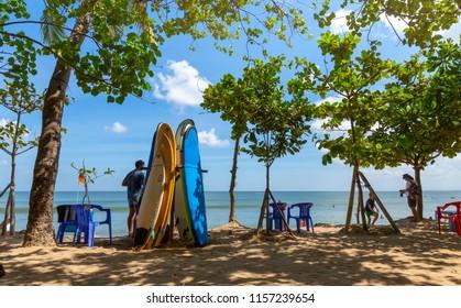 Bali island,Kuta beach line / Indonesia-1 june 2018 : Surfing boards rental line at central beach of Kuta,Bali island