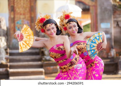 BALI - June 27 : girl performing traditional Indonesian dance at Ubud Palace Bali theater on June 27 2015 in Bali, Indonesia.