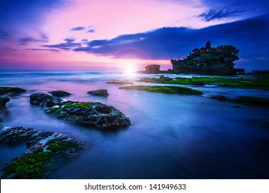 BALI Landmark Tanah Lot temple in sunset. Bali island, indonesia