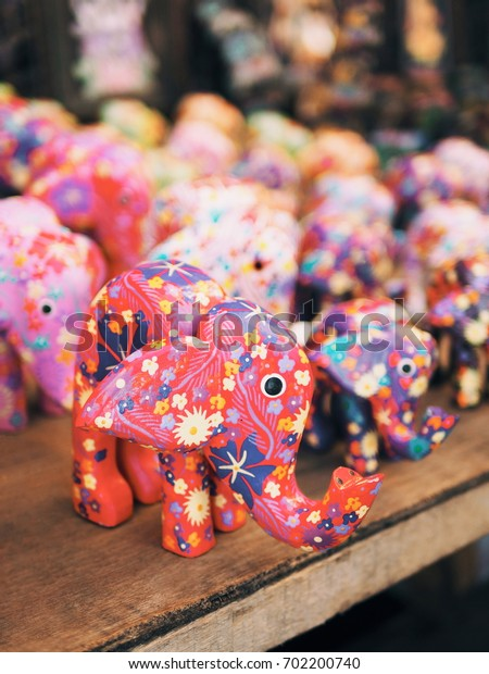 Bali souvenir, Balinese market, carved wood and colorful hand painted elephant.
