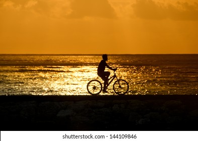 Bali sunset meditation cyclist