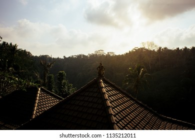Bali temple rooftop at sunrise