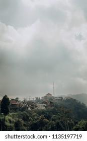 Bali Ubud village skyline on a cloudy day