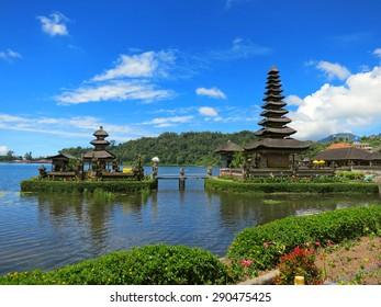 Bali water temple on lake, Indonesia